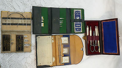 "Four Antique Leather Sewing Needle Box Kirby Beard ""belle Vue"" Scissors Etui"