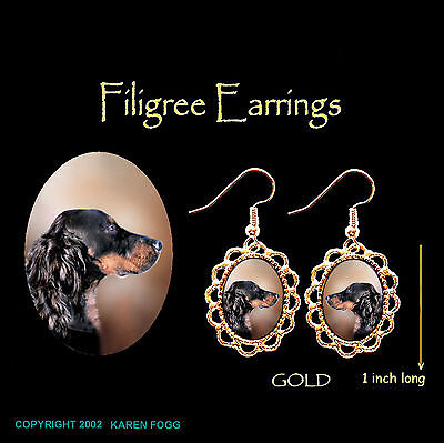 GORDON SETTER DOG - GOLD FILIGREE EARRINGS Jewelry