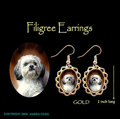 LHASA APSO DOG Sweet Face - GOLD FILIGREE EARRINGS Jewelry
