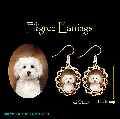 MALTESE DOG Pet Cut - GOLD FILIGREE EARRINGS Jewelry