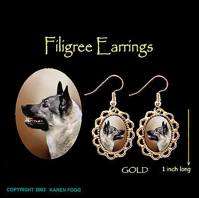 NORWEGIAN ELKHOUND DOG - GOLD FILIGREE EARRINGS Jewelry