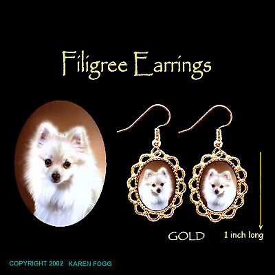 POMERANIAN DOG White POM - GOLD FILIGREE EARRINGS Jewelry