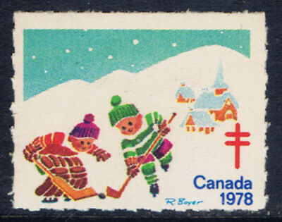 Canada #77a(8) 1978 Christmas Seals CHILDREN PLAYING HOCKEY MNH