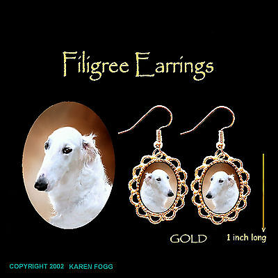BORZOI / RUSSIAN WOLFHOUND - GOLD FILIGREE EARRINGS Jewelry