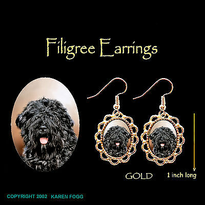 BOUVIER DES FLANDRES DOG Natural Ears - GOLD FILIGREE EARRINGS Jewelry