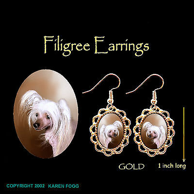 CHINESE CRESTED DOG - GOLD FILIGREE EARRINGS Jewelry