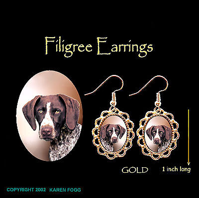 GERMAN SHORTHAIR POINTER DOG - GOLD FILIGREE EARRINGS Jewelry