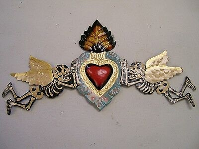 Painted Multicolored Day of the Dead Tin Door Ornament with Angels Heart -Mexico