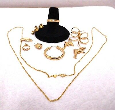 Lot 14 kt Gold Not Scrap Dolphin Earrings Wedding Ring Band Charms Chain 4.7 Grs