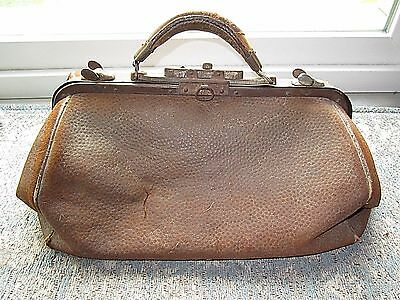 Old Antique Leather Doctors Bag With Handle - Free Usa Shipping!