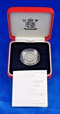 1998 United Kingdom Silver Proof Piedfort One Pound Coin Royal Arms