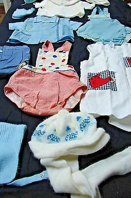 Large Vintag Lot Little Boy's Rompers Outfits Caps & More