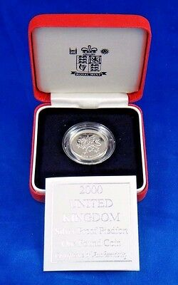 2000 United Kingdom Silver Proof Piedfort One Pound Coin Welsh Dragon