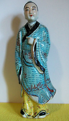 """Antique Chinese Porcelain Famille Rose 12.25"""" Scholar Figurine . marked"""