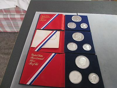 Three 1976-S 3 Piece United States Silver Proof Sets: Original Packs