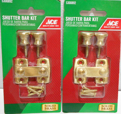 Lot Of 2 Solid Brass Shutter / Cabinet Bar Kit Latch Kits 5300892