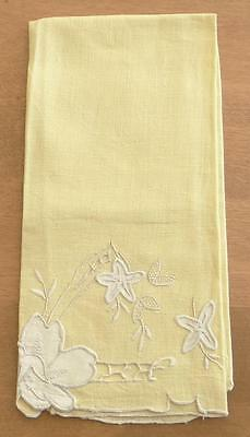Yellow Linen Guest Bath Hand Towel Floral Applique Embroidered Openwork