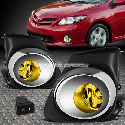 For 11-13 Toyota Corolla Yellow Oe Bumper Driving Fog Light+Chrome Bezel+Switch