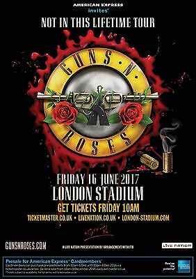 "GUNS N' ROSES ""NOT IN THIS LIFETIME TOUR"" 2017 LONDON CONCERT POSTER - Hard Rock"