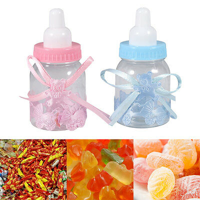 12X Small Candy Box Baby Shower Bottle Baptism Party Christening Favours Plastic