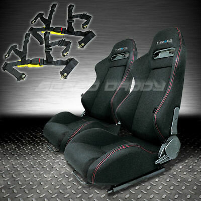 Nrg 2X Type-R Fully Reclinable Black Racing Seat/seats+Sliders+4Pt Harness Belt