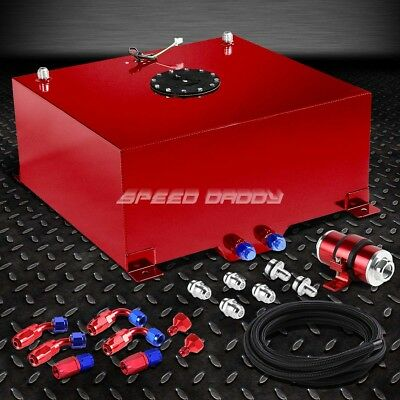 20 Gallon Aluminum Fuel Cell Tank+Cap+Feed Line Kit+30 Micron Inline Filter Red
