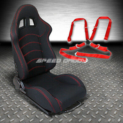 Type-F1 Fully Reclinable Passenger Side Racing Seat+4Pt Red Camlock Harness Belt