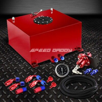 10 Gallon Aluminum Fuel Cell Tank+Cap+Feed Line Kit+1:1 Pressure Regulator Red