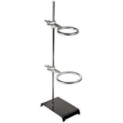 """American Educational 7-G87-A Stamped Steel Support Ring Stand with 2 Rings, 6"""""""