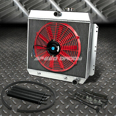 "3-ROW ALUMINUM RADIATOR+2X 9/"" FAN KIT RED FOR 82-92 CHEVY CAMARO//FIREBIRD V8"