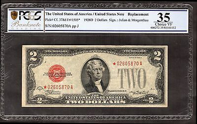 """Legal Tender. 2 Dollars. *02605870A, replacement, series 1928D, """"Choice VF 35""""."""