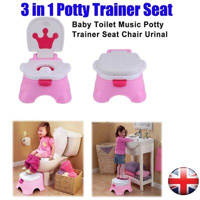 3 in 1 Baby Potty Training Toilet Chair Seat Step Ladder Trainer Toddler Pink CY