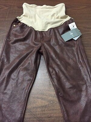 7 For All Mankind Secret Fit Belly Skinny Maternity Pants Faux Leather Size 29