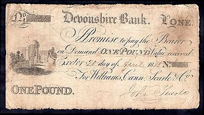 Devonshire Bank, Exeter, £1, 1818, for Williams, Cann, Searle & Co. Very Good.