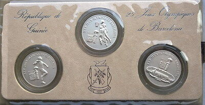Guinea 1988 Olympics Mint Set of 3 100 Francs Silver Coins,UNC