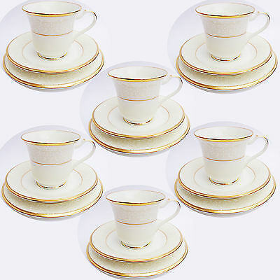 6 x Noritake White Palace Bone China 4753 Gold Trim Trio Set BRAND NEW 18 PIECES