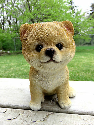 """POMERANIAN PUPPY sitting DOG FIGURINE STATUE RESIN PET 6"""" H CANINE BROWN new"""