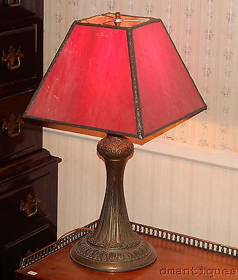Antique c1920's Table Lamp Red Stained Art Glass Shade & Classical Floral Base
