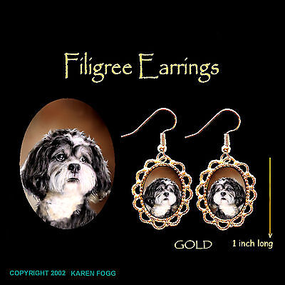 SHIH TZU DOG Pet Cut - GOLD FILIGREE EARRINGS Jewelry