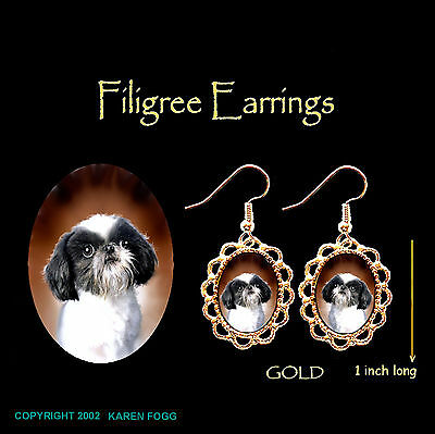 SHIH TZU JAPANESE CHIN DOG Shih-Chin - GOLD FILIGREE EARRINGS Jewelry