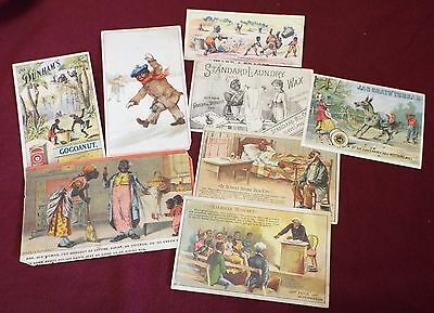 Lot of 8 Antique BLACK AMERICANA Assorted TRADE CARDS Advertising Ariosa Coffee