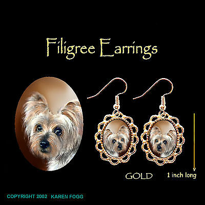 SILKY YORKIE TERRIER DOG - GOLD FILIGREE EARRINGS Jewelry