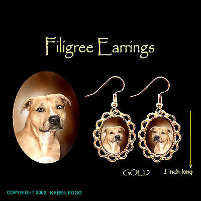 STAFFORDSHIRE BULL TERRIER DOG - GOLD FILIGREE EARRINGS Jewelry