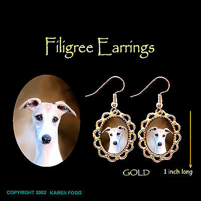 WHIPPET DOG Fawn - GOLD FILIGREE EARRINGS Jewelry