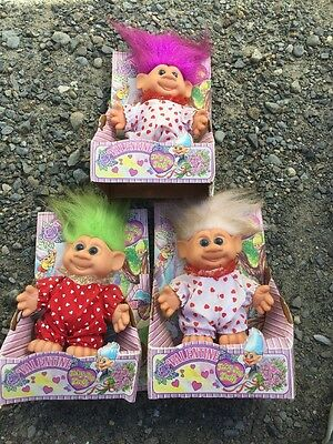 Vintage 1992 H.Y. International Fairy Tale Trolls Valentine In Box 3pc Lot