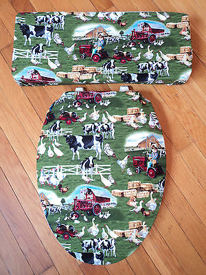 Farmall Tractor Cow Goose Red Barn Bath Decor Toilet Seat & Tank Lid Cover Set