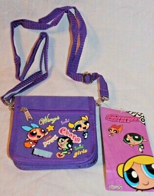 "New With Tags   Purple Powerpuff Girls  Strap Coin Wallet 4"" X 5"""