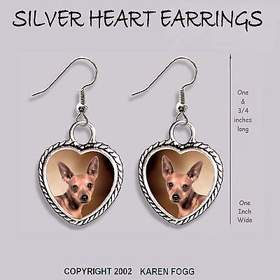MINIATURE PINSCHER DOG Red  - HEART EARRINGS Ornate Tibetan Silver
