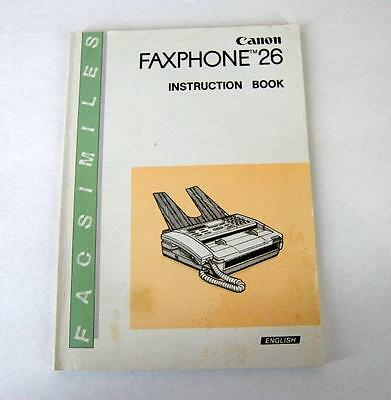 Canon FAXPHONE 26 Instruction Book Vintage