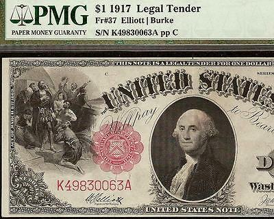 Large 1917 $1 One Dollar Bill Big United States Legal Tender Note Currency Pmg